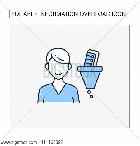 Information Filtering System Line Icon. Filtering Information, Searching For Truthful Info.informati