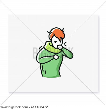 Cough Color Icon.character Having A Bad Cough.common Cold.flu Infection And Influenza Symptoms.healt
