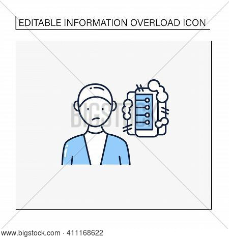 Information Pollution Line Icon. Contamination Space Supply With Irrelevant, Redundant, And Low-valu