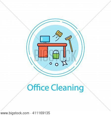 Office Cleaning Concept Line Icon. Keeping Workplace Clean. Tidy Office Desk. Mopping, Wiping, Dusti