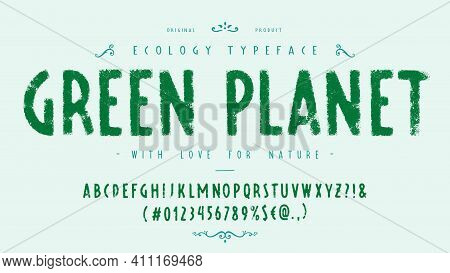 Font Green Planet. Craft Retro Vintage Typeface
