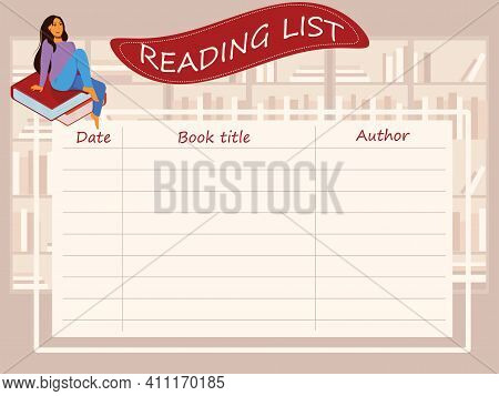 A Reminder Sheet Of Books Read With Columns For The Title, Author's Name, And Date Of Reading. The C