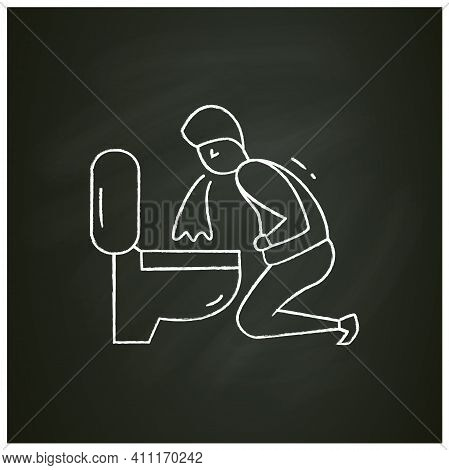 Vomiting Chalk Icon.character Feeling Nausea.man Puking In Bathroom.hangover. Symptoms Food Poisonin