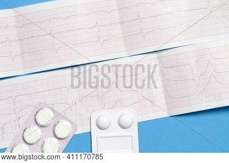 Ecg Cardiogram And Pills For Heart And Vascular Diseases In Cardiology. Arrhythmia, Myocardial Infar