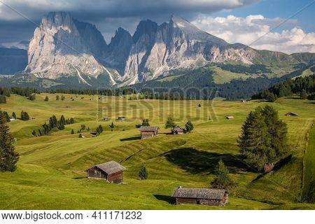 Seiser Alm, Alpe Di Siusi Landscape, Dolomites Alps, Italy. High Quality Photo