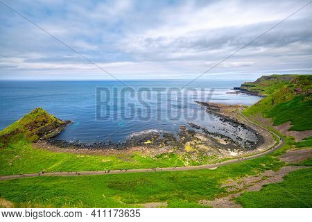 view on Portnaboe bay and North Antrim Cliff along the Giant's Causeway, County Antrim, Northern Ireland, UK