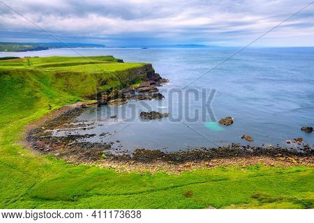 view on Portnaboe bay along the Giant's Causeway, County Antrim, Northern Ireland, UK