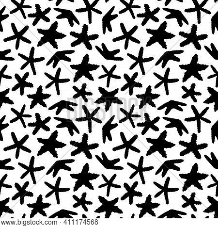 White Black Seamless Endless Vector Pattern Of Sea Stars, Starfish Animals. Doodle Of Marine Inverte