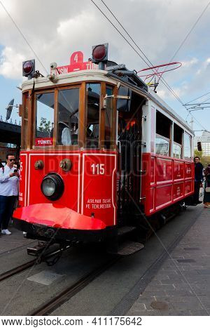 Istanbul, Turkey - October 6, 2019: Vintage Red Tram In Taksim Square. Popular Tourist Tramway Istik