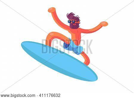 Tanned Surfer Man Vector Illustration. Guy Wearing
