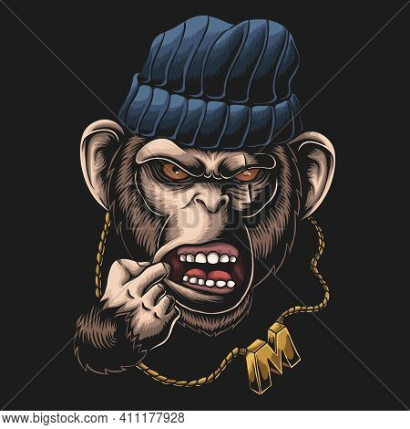 Monkey Gangster Head Vector Illustration For Your Company Or Brand