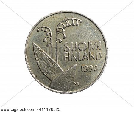 Finland Ten Penni Coin On A White Isolated Background
