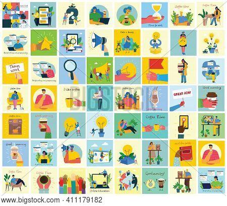 Vector Illustration Of Concept Of Team Work, Business And Start Up Design Backgrounds. Tock Vector I