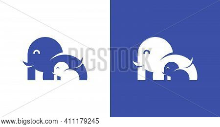 Simple Cute Elephant Logo,  Modern Elephant Logo Design With The Sun, Water, Children Element