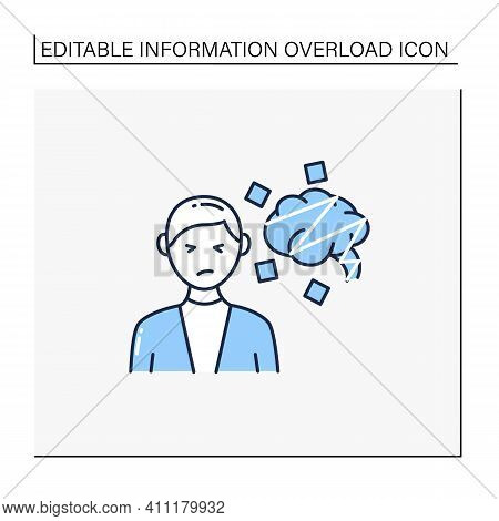 Cognitive Dissonance Line Icon. Mental Conflict Between Knowledge, Ideas, Mind. Divergence Of Though