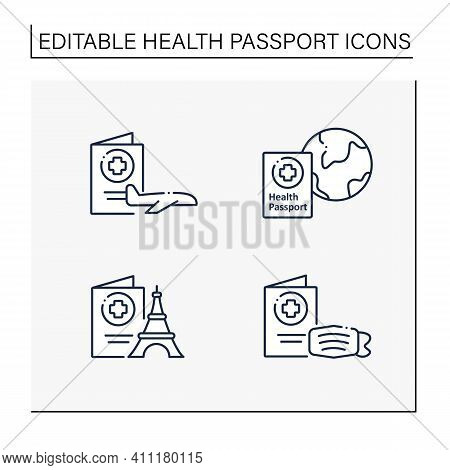 Health Passport Line Icons Set. Necessary Document For Traveling. Information About Health Status. F