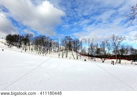 Ski slope outdoors wide angel view in the morning at ski resort with beautiful winter weather