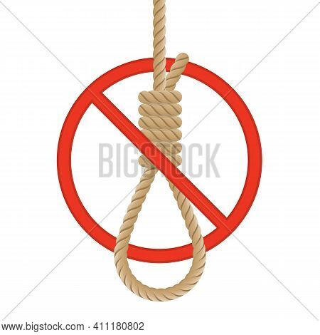 Stop Sign And Rope Noose With Knot. No Suicide Loop Icon. Stop Suicide Loop Symbol Isolated On A Whi