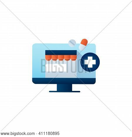 Online Pharmacy Flat Icon. Online Drugstore, Apothecary Website Or Application. Telehealth Medical C