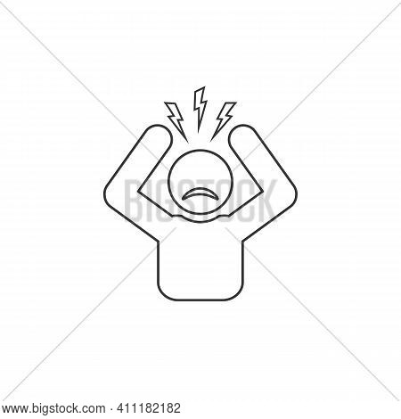 Headache Glyph Line Icon. Silhouette Symbol. Anger And Irritation. Frustration. Nervous Tension. Agg