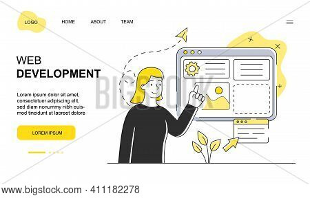 Female Character Is Working On Web Development. Young Woman Is Standing Next To Screen And Developin