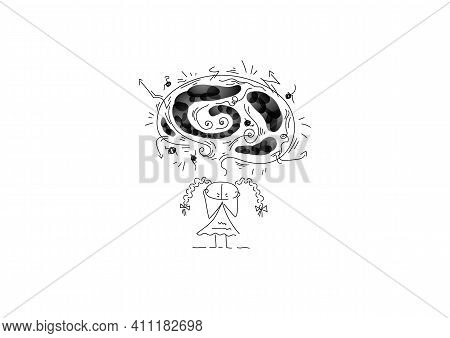 The Girl Holds Her Head And Gets Angry. Above Her Is Black Cloud With Negative Emotions. Anger.