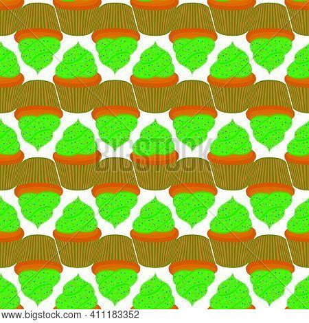 Illustration On Theme Irish Holiday St Patrick Day, Seamless Green Muffins. Pattern St Patrick Day C