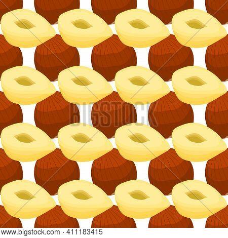 Illustration On Theme Big Pattern Identical Types Hazelnut, Nut Equal Size. Hazelnut Pattern Consist