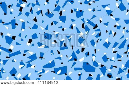 Geometric Blue Terrazzo Seamless Pattern. Abstract Colourful Modern Background. Stone Fashion Design