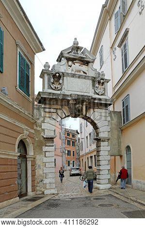 Rovinj, Croatia - October 15, 2014: Arch Balbi Old City Gate Entrance Historic Landmark In Rovinj, C