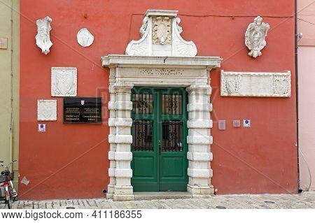 Rovinj, Croatia - October 15, 2014: Mayor Office And City Council Government Building In Rovinj, Cro
