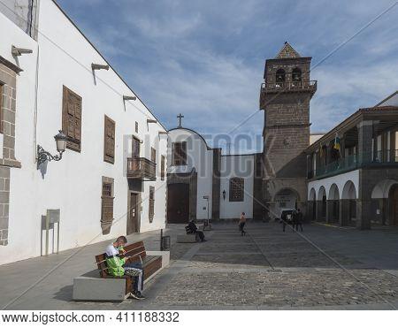 Las Palmas De Gran Canaria, Canary Islands, Spain December 23, 2020: Square Plaza De San Agustin At