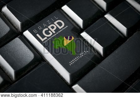 Lgpd (brazilian Data Protection Law) Concept: A Black Computer Keyboard With Brazil Flag And The Tex