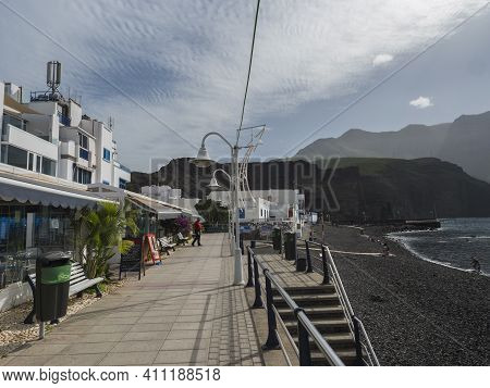 Puerto De Las Nieves, Agaete, Gran Canaria, Canary Islands, Spain December 17, 2020: Street By Sea A