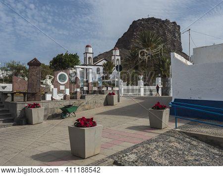 Puerto De Las Nieves, Agaete, Gran Canaria, Canary Islands, Spain December 17, 2020: Street At Cente