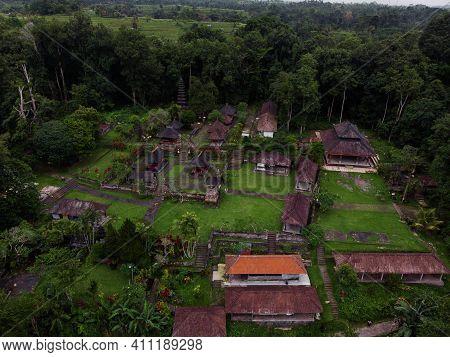 Aerial Panorama View Of Remote Hindu Temple Pura Luhur Besikalung Balinese Culture In Penebel Tabana