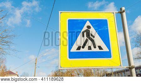 Traffic Sign. Pedestrian Crossing. Road Sign Pedestrian Crossing With A Little Man With Space For Te