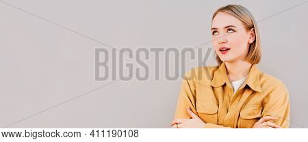 Arrogant Facial Expression, Girl Rolled Her Eyes, Background, Emotions Series.