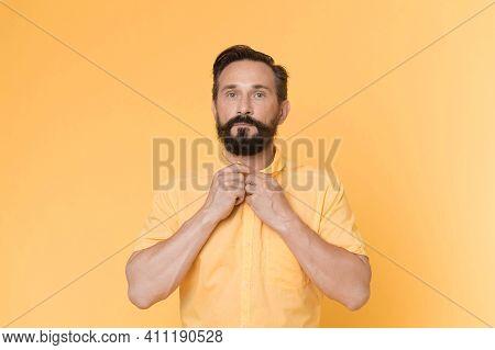 Stylish Concept. Stylish Man With Beard Button Yellow Shirt. Stylish And Bearded. Casually Stylish.