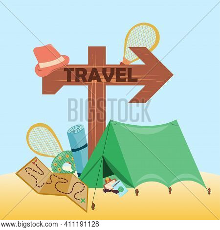 Travel Elements Collection. Wooden Signpost Labeled Travel. Set Of Travel Items For Recreation. Obje