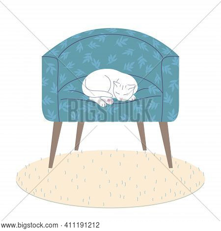 White Cat Sleeping In Blue Armchair. Cozy Room Interior Elements - Comfy Arm-chair, Fluffy Rug On Fl