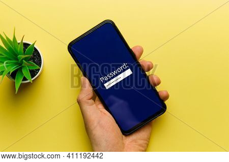 The Concept Of Entering A Password On A Smartphone Display By A Person.