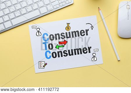 C2c Concept. Consumer To Consumer As A Business Model.