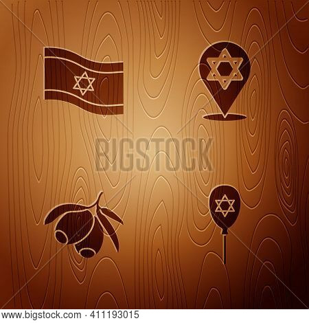 Set Balloon With Star Of David, Flag Israel, Olives Branch And Star David On Wooden Background. Vect