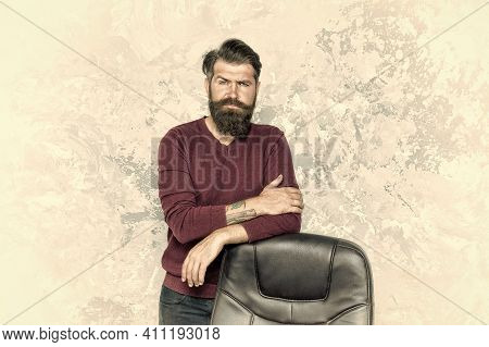 Trendy Mens Fashion. Bearded Man Look Trendy And Stylish. Brutal Hipster Wear Trendy Mustache And Be