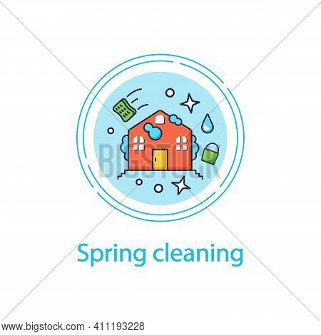 Spring Cleaning Concept Line Icon. Spring Outdoor Cleanup. Sweeping, Wiping. House Maintenance. Hous