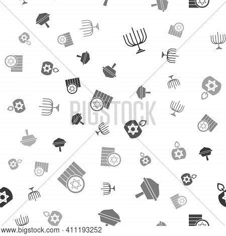 Set Hanukkah Menorah, Dreidel, Burning Candle And Jewish Coin On Seamless Pattern. Vector