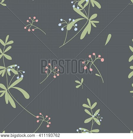 Floral Gentle Seamless Pattern With Flowers Isolated On Dark Background. Vector Background With Cute