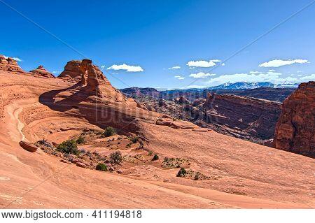 Arches National Park On Sunny Day Blue Sky Clouds Travel Destination Tourist Spot Southwest High Alp