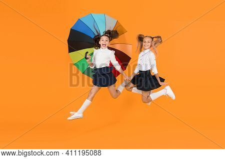Fall Weather Forecast. Place For Both Of Us. Fashion Accessory. Girls Friends With Umbrella. Rainy D